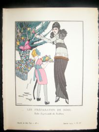 Gazette du Bon Ton by Gose 1914 Art Deco Pochoir. Les Preparatifs de Noel